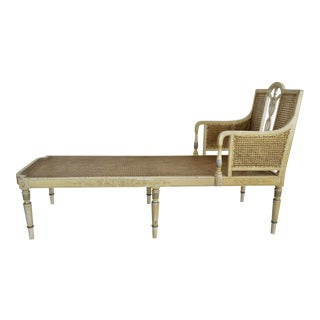 Antique Adams Painted French Caned Chaise
