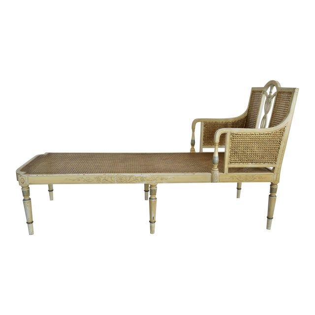 Antique Adams Painted Neoclassical Caned Chaise - Image 1 of 11