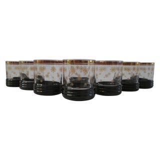 Holiday Gold Snowflake Lowball Glasses - Set of 8