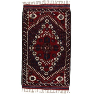 "Bergama Hand Knotted Red Rug - 3'2"" X 5'7"""