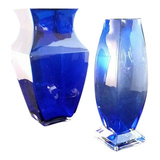 Encased Cobalt Blue Vases - A Pair
