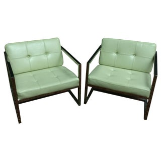Modern Off White Chrome Accent Chairs - A Pair