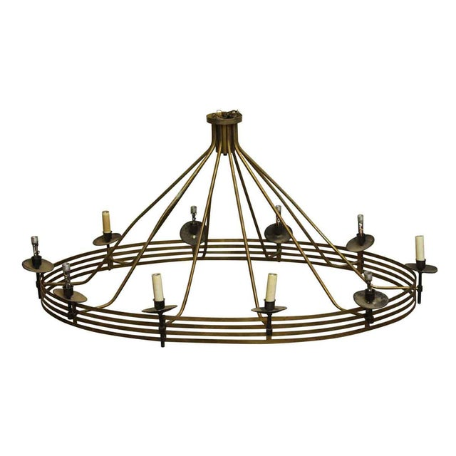 Large Mid-Century Modern Oval Chandelier With 10 Lights | Chairish