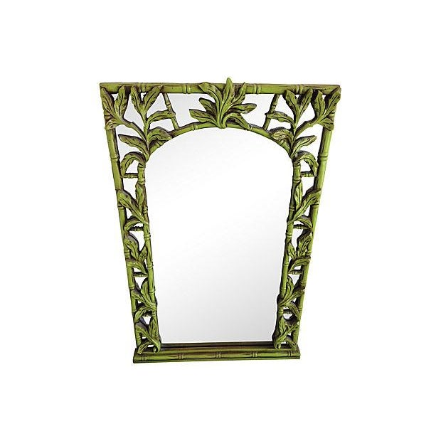 Green Serge Roche-Style Palm Bamboo Mirror - Image 4 of 4