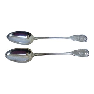 English Sterling Serving Spoons - A Pair