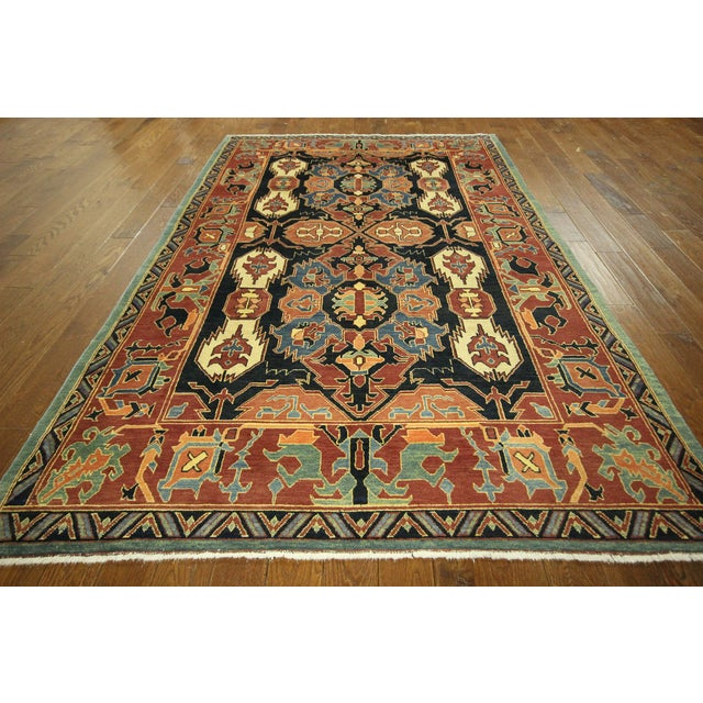 "Navy Chobi Hand Knotted Wool Rug - 6'6"" x 9'10"" - Image 2 of 9"