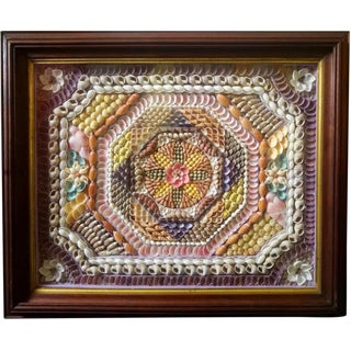 Large Sea Shellwork Picture in Antique Mahogany Frame, Circa 1875-85.