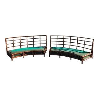 Mid-Century Vintage Bamboo Circular Sofas- A Pair