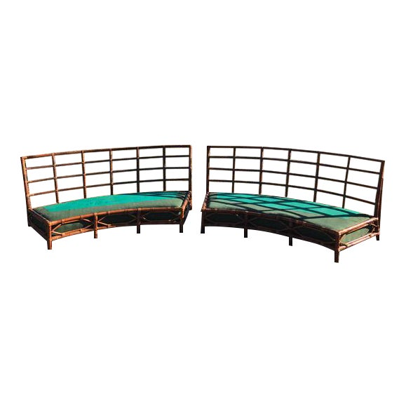 Image of Mid-Century Vintage Bamboo Circular Sofas- A Pair