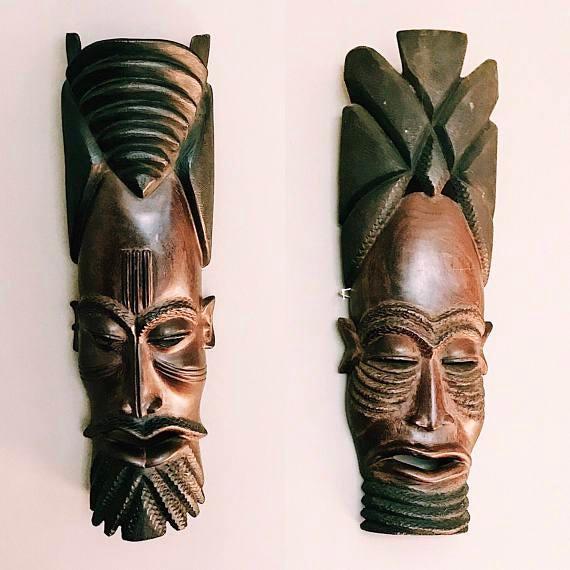 Vintage Hand-Carved Tribal Warrior Masks - A Pair - Image 2 of 6