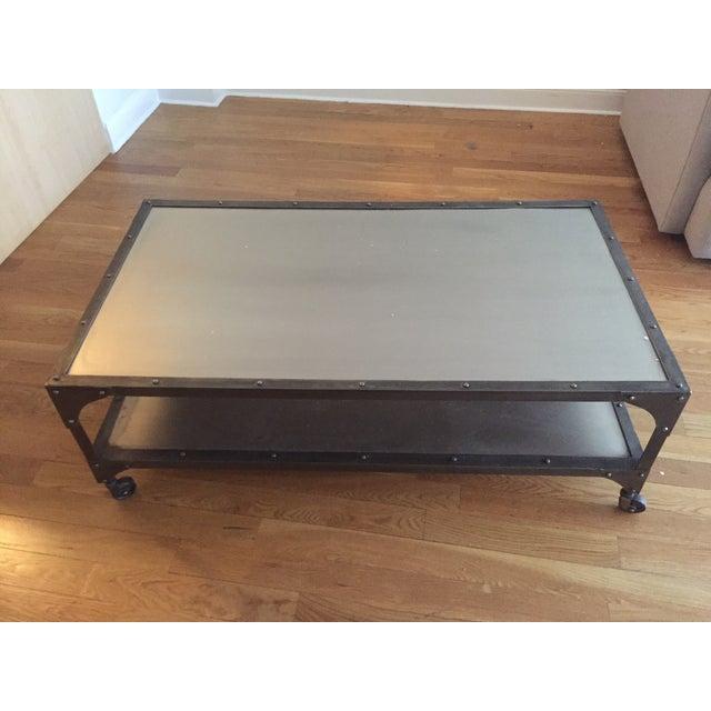 Industrial Metal Coffee Table - Image 3 of 5
