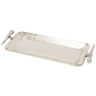 Hand-Hammered Hand Made Silver Plate & Horn Oblong Tray