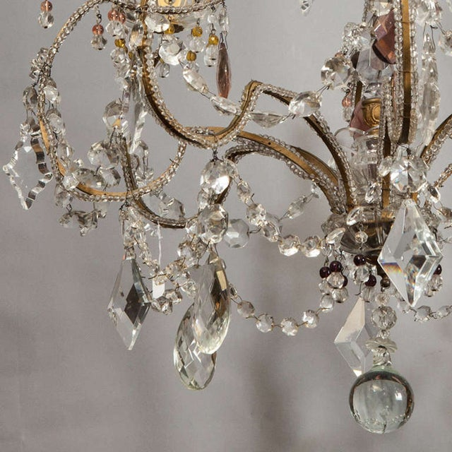 Antique French 4-Light Crystal Beaded Chandelier - Image 4 of 6