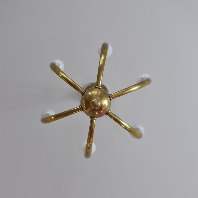 Brass Chandelier With Six Lights - Image 4 of 8