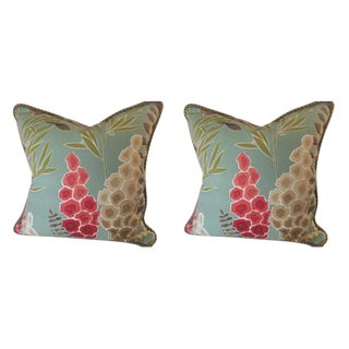 """Harlequin """"Delphina"""" in Seaglass, Coral, Lime & Neutral English Country Floral Pillows - a Pair"""
