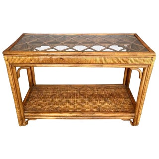 Rattan and Glass Console Table