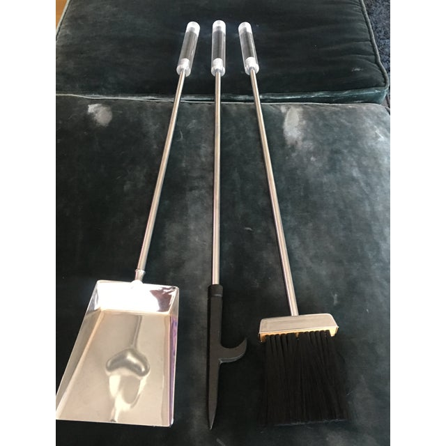 Mid-Century Modern Lucite Chrome Fireplace Tools Set - Image 3 of 5