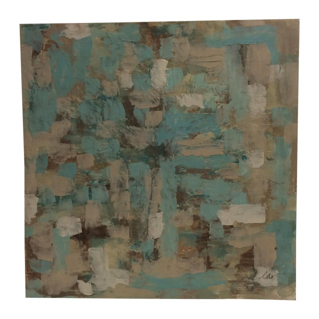 Raw Turquoise Acrylic & Plaster Abstract Painting - Image 1 of 9