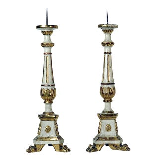Tall Painted and Gilt Prickets Italy circa 1820 - A Pair