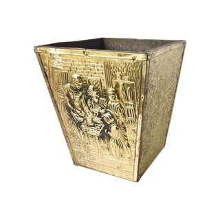 Brass Embossed Wastebasket