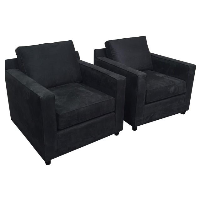 Crate & Barrel Black Microsuede Armchairs - A Pair - Image 1 of 7