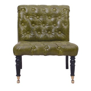 Manhattan Green Tufted Leather Slipper Chair