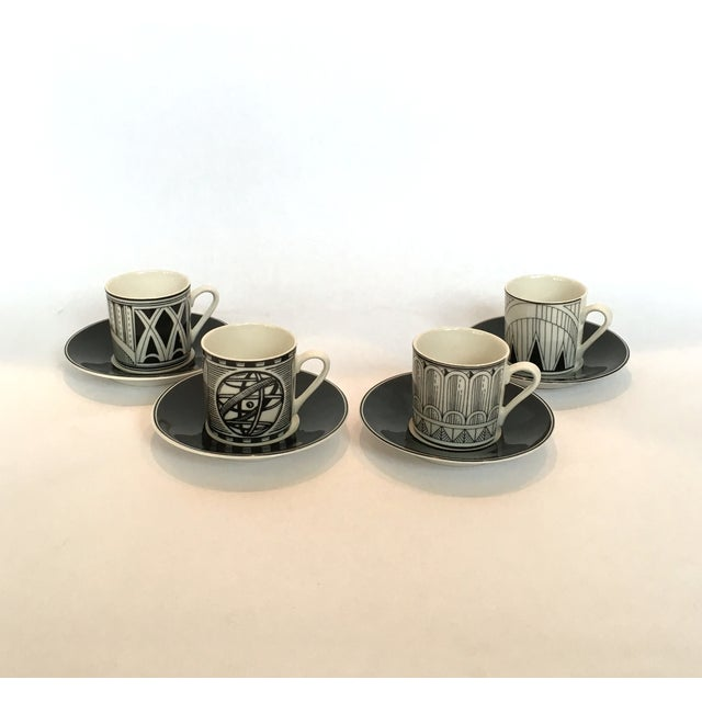 Deco-Style Espresso Cups & Saucers - Set of 4 - Image 3 of 4