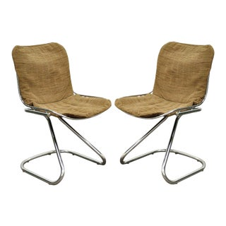 Vintage Mid-Century Modern Tubular Chrome Wire Cantilever Side Chairs - A Pair