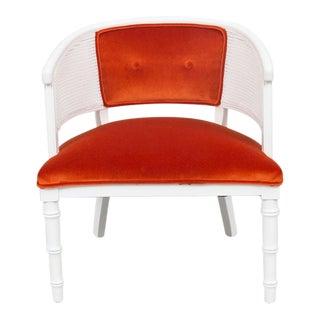 Orange Upholstered White Wicker Chair