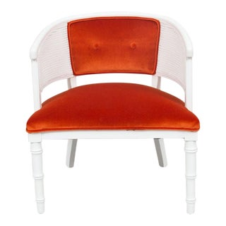 Orange Upholstered White Wicker Chair