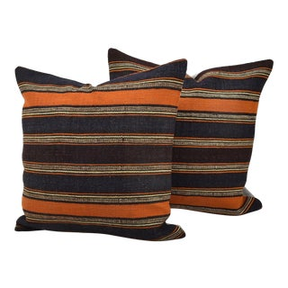 Vintage Turkish Handmade Kilim Pillows - A Pair