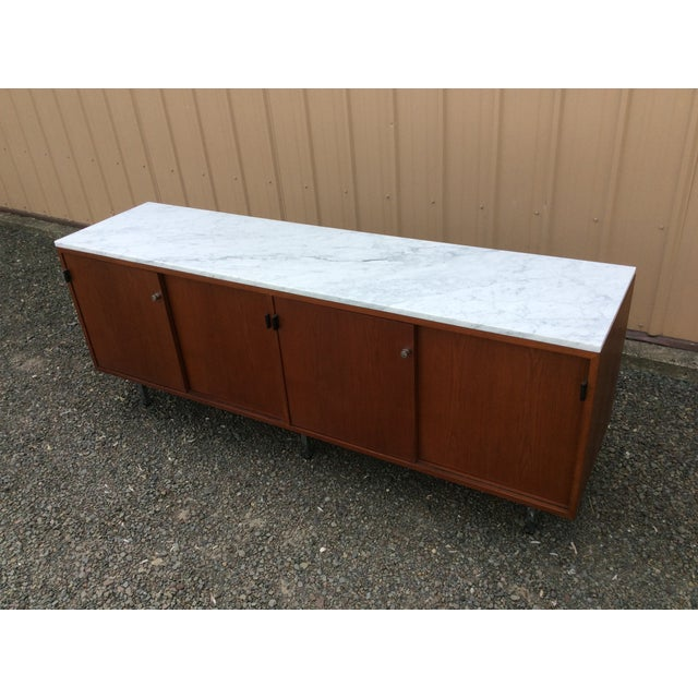 Florence Knoll Walnut Carrara Marble Credenza - Image 5 of 8
