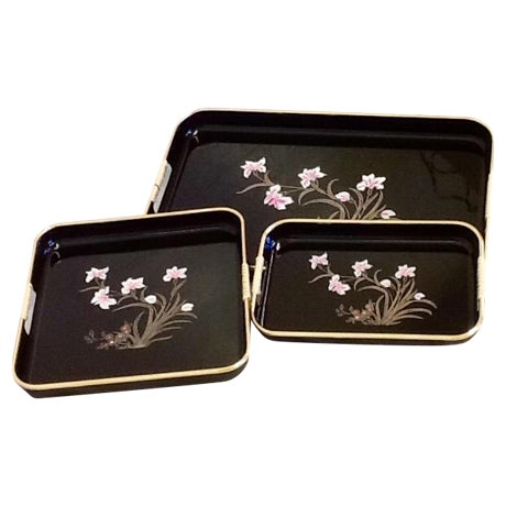 3 Mid-Mod Lacquerware Hand Decorated Trays-Unused - Image 1 of 7