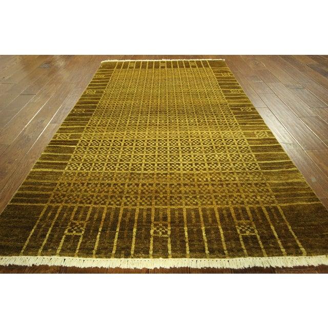 "Oriental Oushak Green Chobi Rug - 4'1"" x 6'7"" - Image 3 of 7"