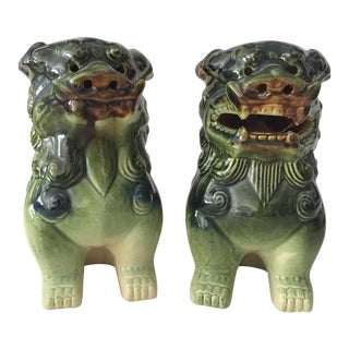 Vintage Ceramic Foo Dogs - A Pair