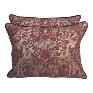 Burgundy & Gold Fortuny Pillows - A Pair