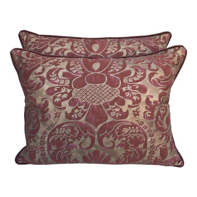 Burgundy & Gold Fortuny Pillows - A Pair - Image 1 of 5