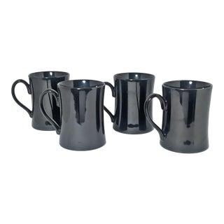Vintage Fitz & Floyd Curvaceous Porcelain Black Mug - Set of 4