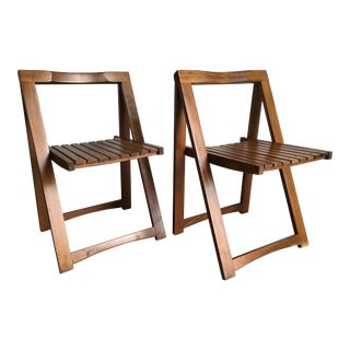 Vintage Mid-Century Modern Folding Chairs Set of 2