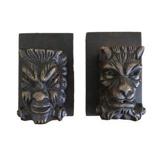 Antique Lion Carved Wood Bookends - A Pair