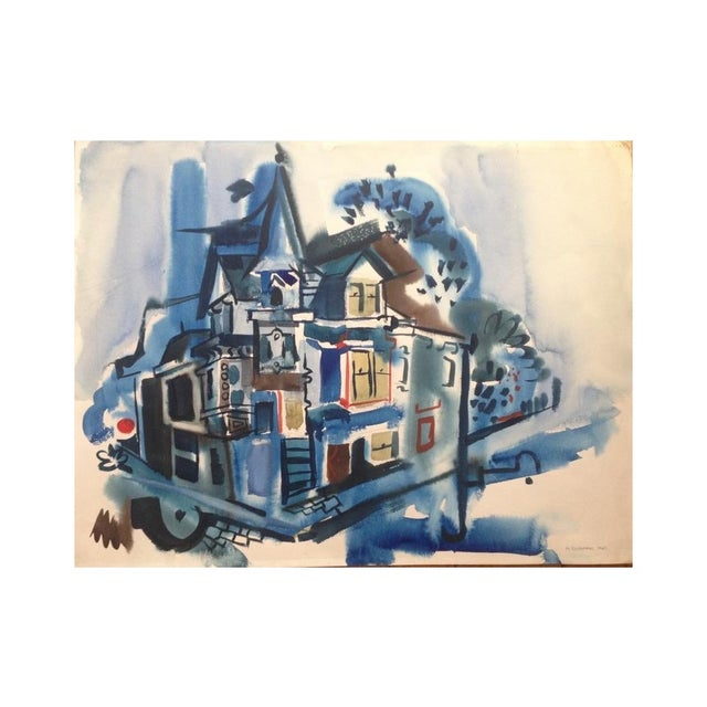 1965 Gouache Painting Victorian House - Image 1 of 6