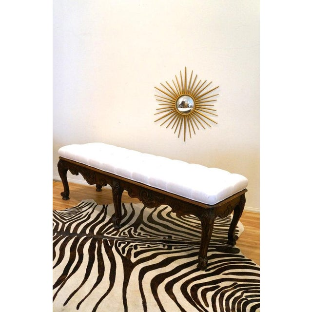 Carved Wood Button Tufted Bench - Image 5 of 6