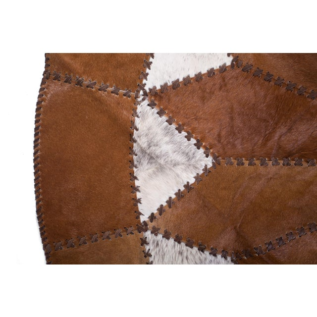 "Cowhide Patchwork Round Area Rug - 5'10""x5'10"" - Image 4 of 6"