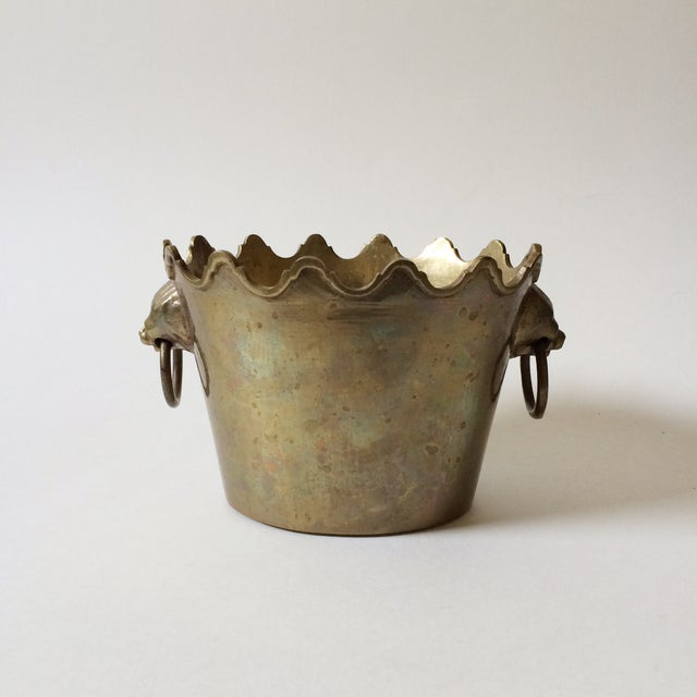 Brass Planter with Lion Head Handles - Image 2 of 5
