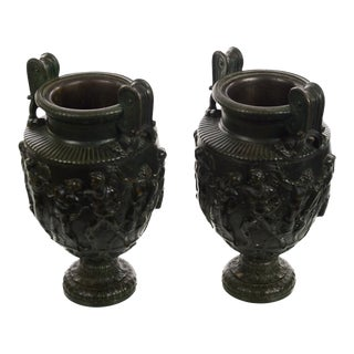 After the Townley's Vase -Beautiful French Neoclassical Bronze Urns - -A Pair