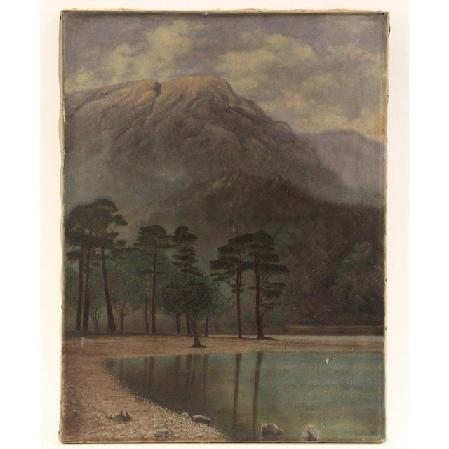 Vintage Mountain Lake Landscape Painting - Image 2 of 4