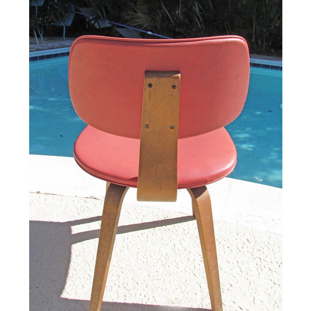 Thonet Vintage 1960 Bent Plywood Coral Vinyl Chair - Image 3 of 6