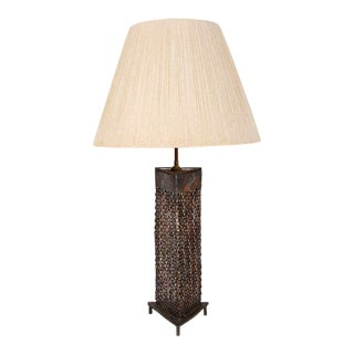 Brutalist Perforated Steel Table Lamp
