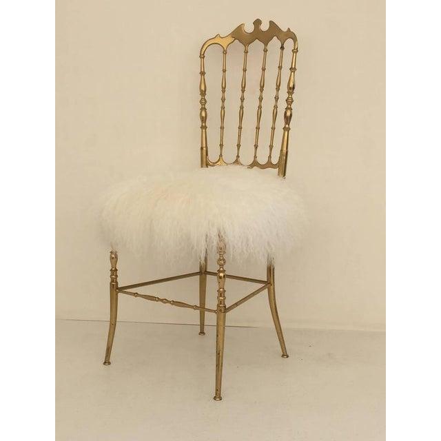 Italian Brass Chiavari Chair in Mongolian Fur - Image 5 of 10