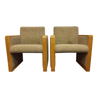 Vintage Wood and Fabric Accent Chairs
